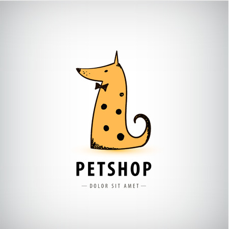 Vector dog logo, pet shop icon, veterinary. Dog with bow tie sitting illustration Illustration