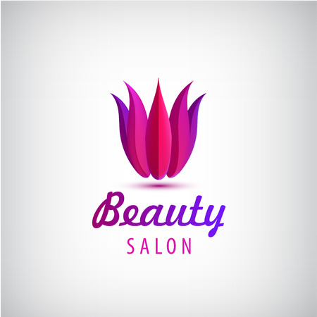 cosmetician: Vector lotus logo, spa and salon icon, beauty salon identity. 3d floral red logotype