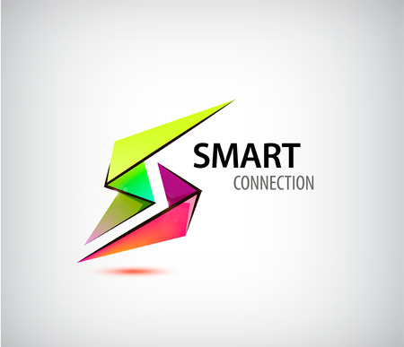 Vector abstract colorful origami 3d logo, 2 parts icon, smart connection, design template, company identity