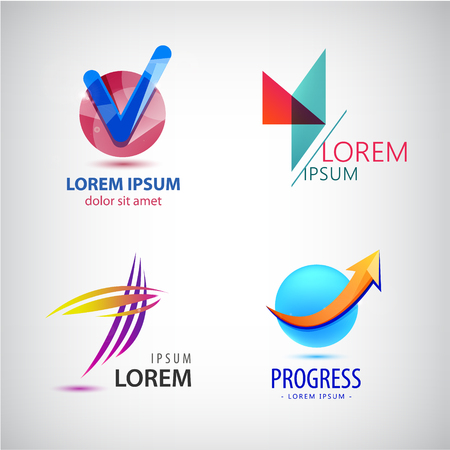 abstract logos: Vector set of abstract logos, progress arrow grow icon, tick sign. Company identity, business logos collection Illustration