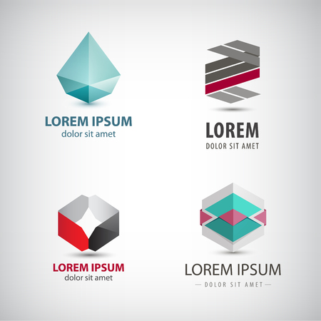abstract logos: Vector set of abstract origami logos, crystal, faceted, paper icons isolated. Identity creative ideas Illustration