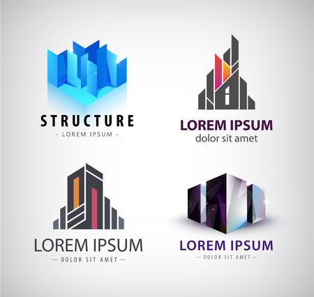 building structure: Vector set of building logos. 3d structure, house, office building, property logos, icons isolated Illustration