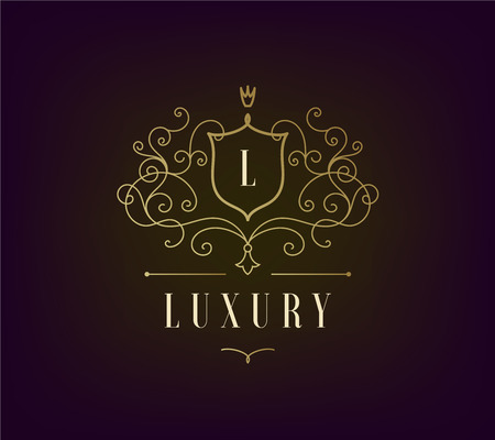 royal logo: Vector Luxury Logo template flourishes with calligraphic elegant ornament lines. Business sign, identity for Restaurant, Royalty, Boutique, Cafe, Hotel, Heraldic, Jewelry. Classic style