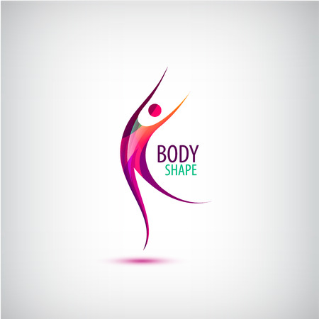 Vector body shape logo. Human icon, dancing, sport, positive man. Healthy life sign