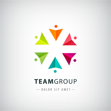 social net: vector teamwork logo, social net, people together icon, company outline logo isolated. Circle origami men