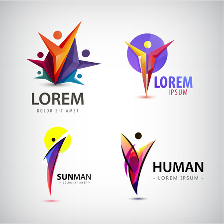 男のロゴ、チーム、家族のアイコンのベクトルを設定します。勝者、リーダー、ビジネスのロゴ。図人間のコレクション  イラスト・ベクター素材