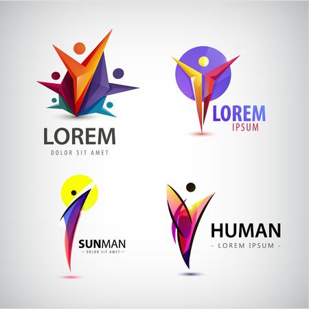 vida social: Vector conjunto de logotipos hombre, equipo, icono de la familia. Ganador, líder, logotipo de la empresa. colección humano ilustración