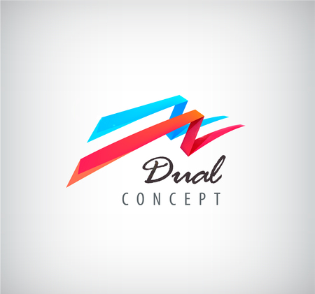 connection: Vector dual concept logo, 2 3d flying ribbons logo, abstract two parts icon isolated. Red and blue colors, perspective dynamic