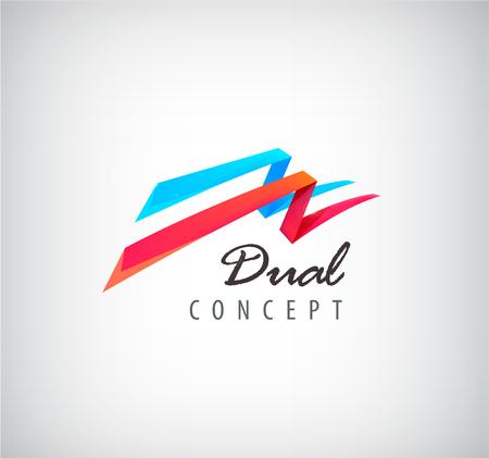 Vector dubbel concept logo, 2 3d vliegende linten logo, abstracte twee delen pictogram geïsoleerd. Rode en blauwe kleuren, dynamische perspectief