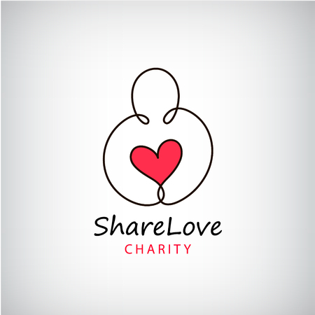 Vector charity logo. Heart in hand symbol, sign, icon, logo template for charity, health