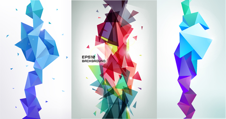 vertical orientation: Vector set of faceted 3d crystal colorful shapes, banners. Vertical orientation backgrounds