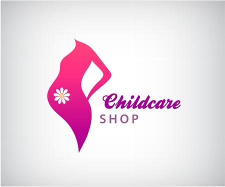 awaiting: Vector pregnancy logo, pregnant woman silhouette icon Illustration