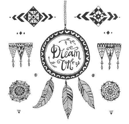 Vector Hand drawn tribal patterns with stroke, line, decorative elements, feathers, geometric symbols Aztec style. Dream catcher, calligraphy dream on. Boho design