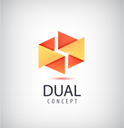 dual: Vector dual concept logo, origami 2 parts icon. Company identity creative idea