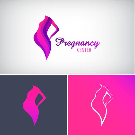벡터 임신 로고, 임신 한 여자 실루엣 아이콘 일러스트