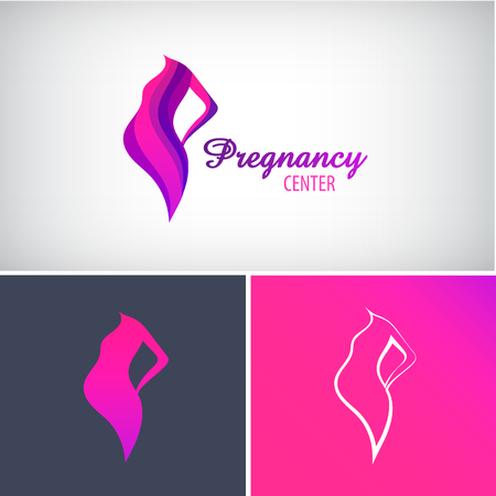 Vector pregnancy logo, pregnant woman silhouette icon Illustration