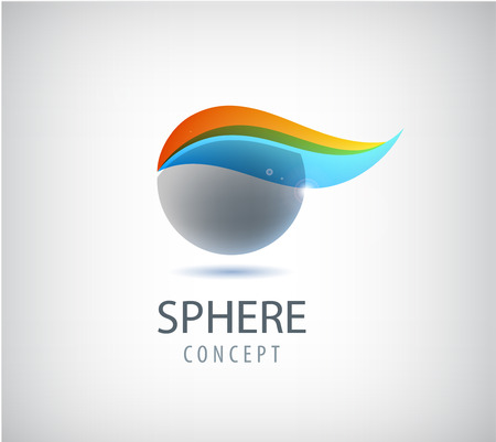 company logo: Vector abstract sphere logo, global, round company icon. 3d colorful logotype, identity Illustration
