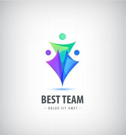 Vector logo design template. Concept for family, teamwork, creativity, training business partnership, sport team. Human logotype