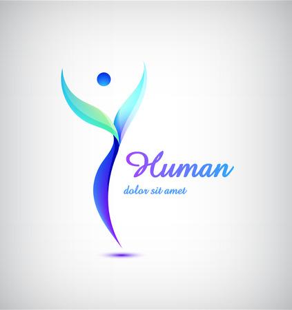 logo corporativo Éxito, logotipo de la Salud, plantilla ganador. Concepto de negocio. abstracta humana. línea colorido del vector icono.