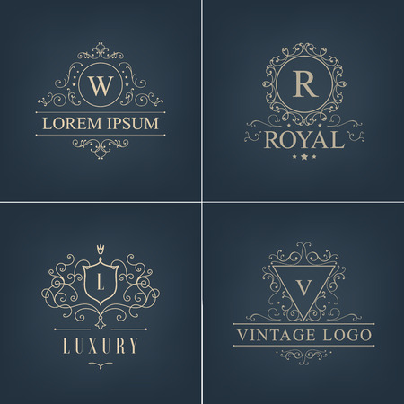 logotypes: Vector abstract logotypes, icons. Set Luxury Logos template calligraphic elegant ornament lines. Business sign, identity for Restaurant, Royalty, Boutique, Hotel, Heraldic, Jewelry, Fashion and other