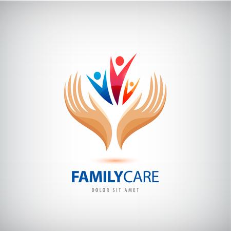 apoyo familiar: Familia de vectores icono de signo seguro de vida. Las manos protegen, mantienen símbolo del grupo humano. Seguro de salud. Apoyo familiar Vectores
