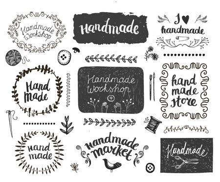 Vector ensemble de cadres de griffonnage dessinés à la main, des badges. Handmade, atelier, fabriqué à la main boutique graphique set design. Art et artisanat, éléments de couture, des icônes, des badges mis isolé, lettrage