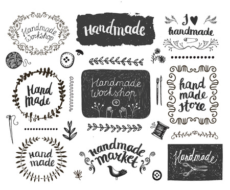Vector set hand getekende doodle frames, badges. Handgemaakte, workshop, handgemaakte winkel grafisch ontwerp set. Kunst en ambachten, naaien elementen, pictogrammen,, geïsoleerde badges, lettering