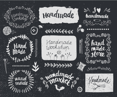 graphic arts: Vector set of hand drawn doodle frames, badges. Handmade, workshop, hand made shop graphic design set. Arts and crafts, sewing elements, icons,  , badges set isolated, lettering