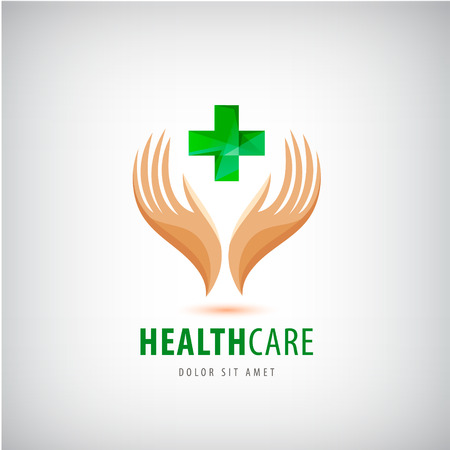 green cross: Medical pharmacy cross  design template. 2 hands holding green cross, health protection, human support