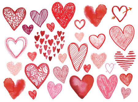 Vector set of hand drawn doodle hearts isolated. Valentines day, birthday, love wedding event card, signs, elements