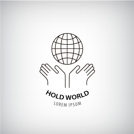 protection hands: Vector holding world  , eco, protection of the planet, people rights, global icon. 2 hands and globe outline sign