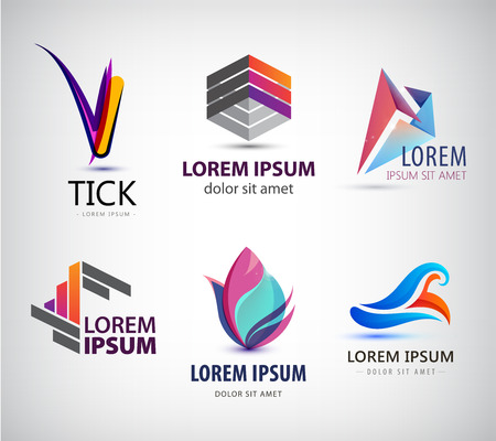 business symbols: Vector set of abstract  design, web icons. 3d templates, colorful symbols for company identity, ad, website. Geometric, sphere, origami, business Illustration