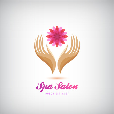 spa salon: Vector spa, beauty salon, cosmetics, massage  . 2 hands holding flower sign