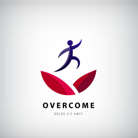 Vector illustration on overcoming challenging problems and adversity in business concept. Overcome , jumping man from one side to other, success, winner