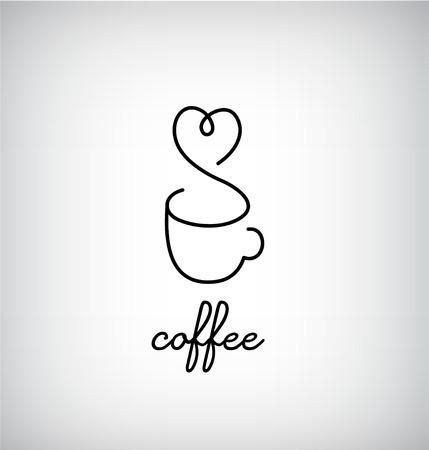 café monogramme, café, bar, icône de la tasse de menu avec le coeur