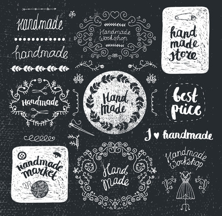 graphic arts: Vector set of hand drawn doodle frames, badges. Handmade, workshop, hand made shop graphic design set. Arts and crafts, sewing elements, icons, logos, badges set isolated, lettering Illustration