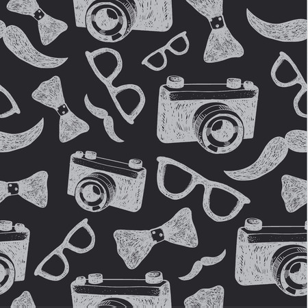 patter: Vector hipster seamless hand drawn patter. Black and white, blackboard. Cameras, glasses, bow ties, mustache background Illustration