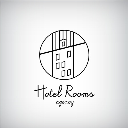 house building: Creative concept symbol for hotel, hostel, travel, housing rent, real estate. Vector building, house with windows logo