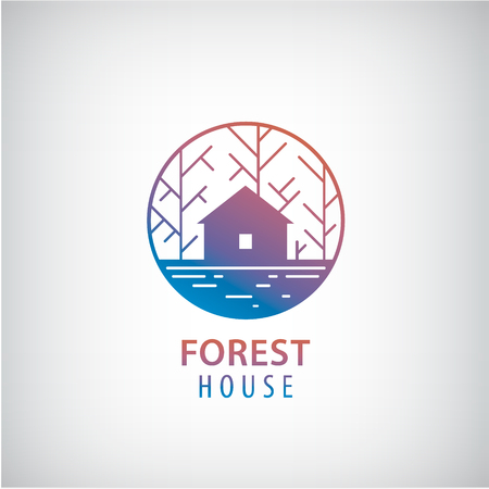 Vector house in the woods logo. Cabin in the forest silhouette logotype, property icon Stock Illustratie