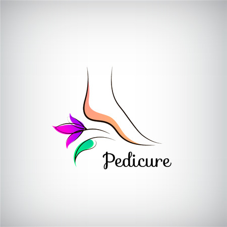 Woman foot pedicure logo.. Abstract design concept for beauty salon, pedicure, cosmetic, organic care and spa. 版權商用圖片 - 68712524