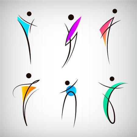 Ensemble vectoriel de logos de silhouette de ligne de figure, enseignes humaines, masculines, sportives et de danse. Corps des corps stylés abstraits Logo