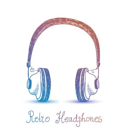 Vector retro headphones, earphones illustration. Music, listening, radio card, poster t-shirt print