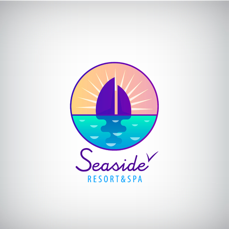 sea horizon: Vector seaside, sailboat in the sea, sunset, horizon logo. Resort, weekend holidays logotype Illustration