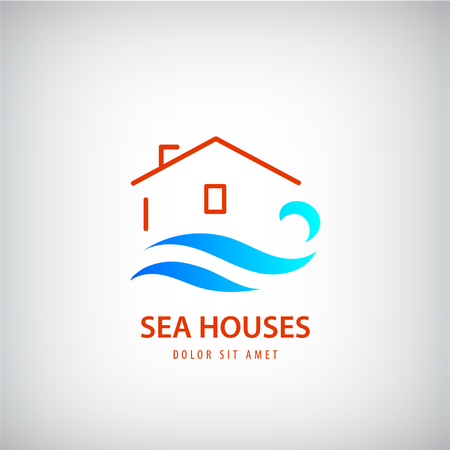 wave tourist: Vector house logo with blue wave. Rent house near sea. holidays, beach sign. Line building and water logotype