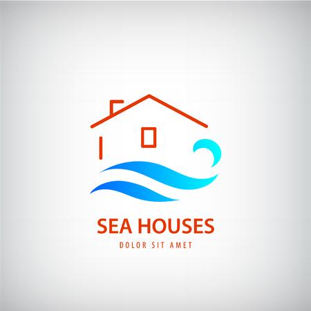 Vector huis logo met blauwe golf. Huur een huis in de buurt van de zee. vakantie, strand teken. Line gebouw en water logo