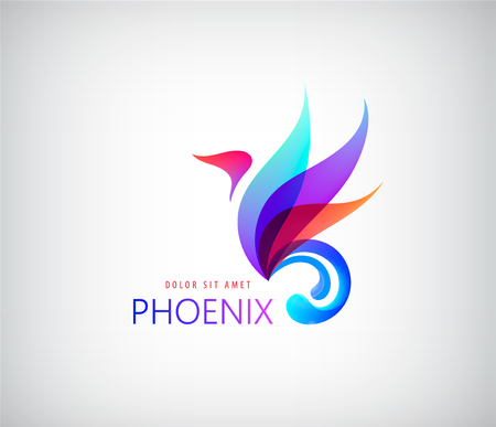 Phoenix colorful brand, animal logo, hotel fashion and sports brand concept. Vector design, company identity 版權商用圖片 - 68606266