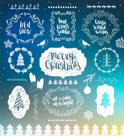 vintage design: Christmas Decorations Vector Design Elements. Typographic elements, Symbols, Icons, Vintage Labels, Badges, Frames, illustrations set. Flourishes calligraphic Merry Christmas Happy Holidays wishes