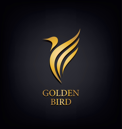 ゴールデン フェニックス、鳥ブランド、動物ロゴ、ホテル ファッション ・ スポーツ ブランド ・ コンセプトの高級ブランド ・ アイデンティティ