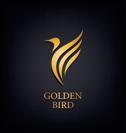 Golden Phoenix, vogelmerk, dierenlogo, luxe merkidentiteit voor hotelmode en sportmerkconcept. Vector ontwerp, bedrijfsidentiteit