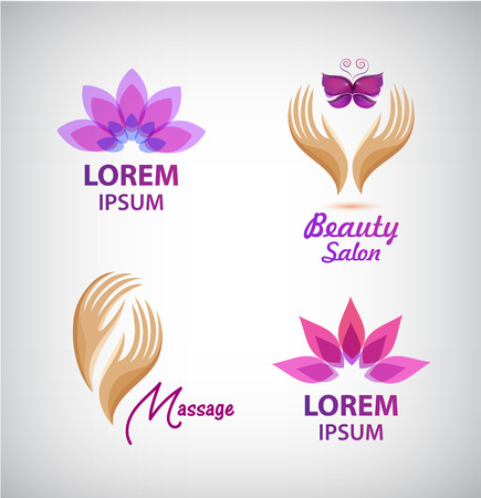 Vector set of spa logos. Lotus, massage, hands with butterfly salon icons, signs. Illustration